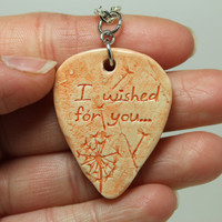 I wished for you Dandelion stamped clay Pick pendant Orange Aromatherapy pendant
