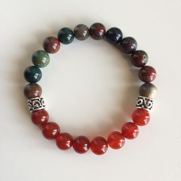 Healing of Depression ~ Genuine Bloodstone & Carnelian Bracelet w/ Sterling Silver Celtic Spacers ~ Positive Energy