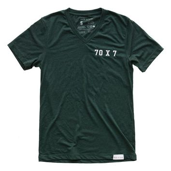 70 x 7 Embroidered Emerald V-Neck Tee