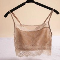 Female silk spaghetti strap tube top pure plus size mulberry silk knitted lace tube top basic underwear chest pad crop top