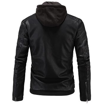 Men Faux Leather Jacket and Coats With New Hooded Leather Jacket Street wear