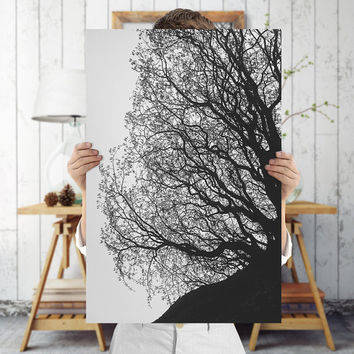 Black and White Tree Branch Art Print | Dark Photography, Digital Download | Nature Wall Decor by Mila Tovar