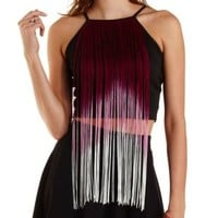 Ombre Fringe Crop Top by Charlotte Russe