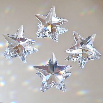 Swarovski Crystal Four Star Prism Pendant Ornaments 20mm, logo Retired