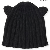 Aeropostale  Womens Ribbed Cat Ear Beanie - Black