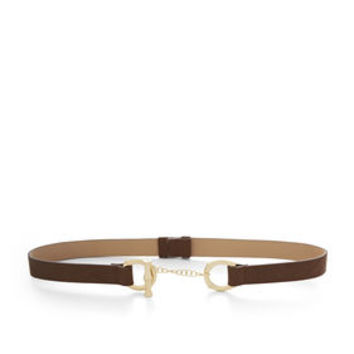 Green/Brown BCBG Bamboo Faux-Leather Toggle Belt