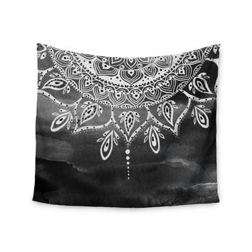 "Li Zamperini ""Black & White Mandala"" Gray Abstract Wall Tapestry"