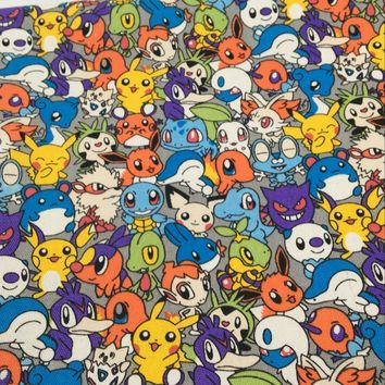 90 * 145 Cm  Pikachu Canvas Cotton Fabric Shoes Bag For Patchwork Diy Sewing Quarters To Cushion Dolls ShirtKawaii Pokemon go  AT_89_9