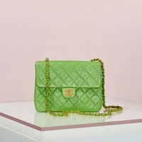 Vintage Chanel Quilted Green Leather Bag