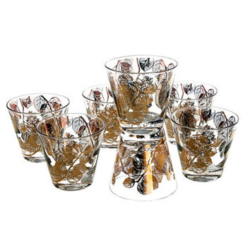 Signed Gay Fad Low Ball Rocks Glasses Set of 7 Gold Acorn Leaves Mid Century Cocktail Tumblers