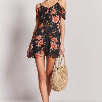 Floral Open-Shoulder Dress