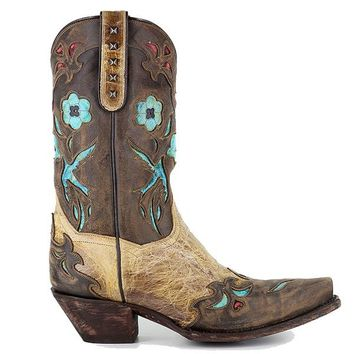 Dan Post Blue Bird - Beige/Brown/Turquoise Leather Western Boot