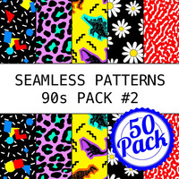 Printable Seamless Patterns - 90s Pack #2 - Digital Scrapbook Paper