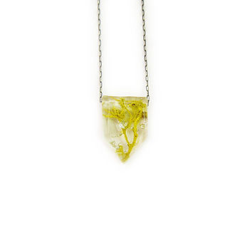 Geometric Terrarium and Silver Leaf Resin Necklace • Nature Necklace • Eco Resin Silver Leaf Terrarium Necklace • Terrarium Jewlery