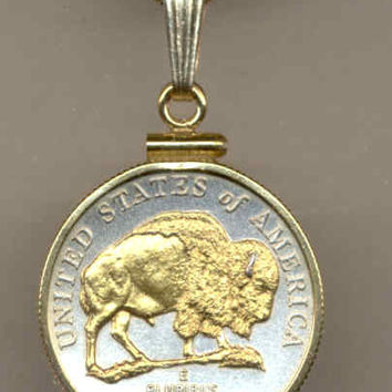 2-Toned Gold on Silver  U.S. Bison nickel  Necklace