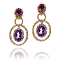 Diamond Amethyst Drop Earrings