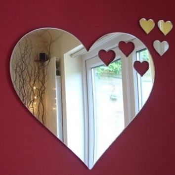 Hearts Out of Heart Mirror 12cm X 10cm (5inch x 4inch) with 3 Baby Hearts