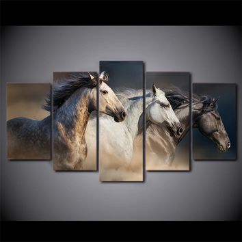 5 Piece Canvas Art Running Horses Painting Animal Wall Picture Canvas