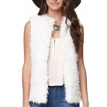 LA Hearts Sherpa Fur Vest - Womens Jacket - White