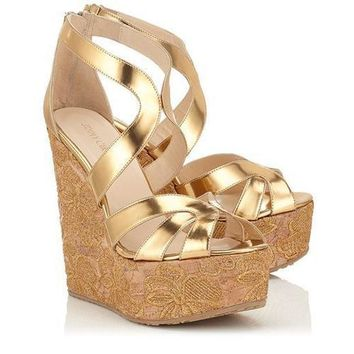 Jimmy Choo Women Fashion Platform Sandals Heels Wedge Shoes-5