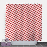 Red Gingham Shower Curtain - Pattern White Red Gingham - 71x74 - PVC liner optional - Made to Order