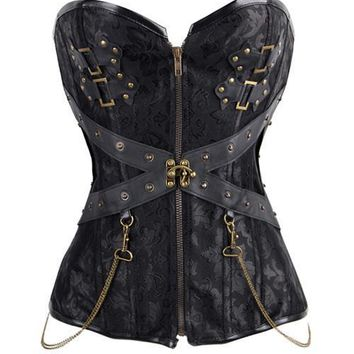 Sophisticated Jacquard 12 Bones Affordable Steel Boned Corsets
