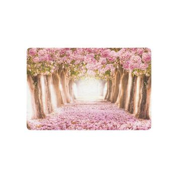 Autumn Fall welcome door mat doormat Romantic Tunnel of Pink Flower Trees Anti-slip  Home Decor, Japanese Cherry Blossom Indoor Outdoor Entrance  AT_76_7