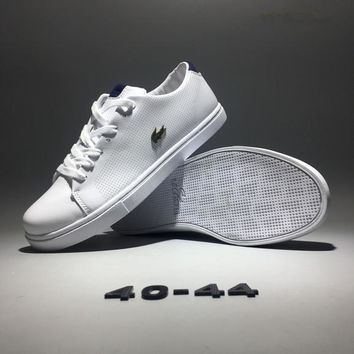 Lacoste Men Simple Casual Fashion All-match Low Help Cowhide Plate Shoes Small White Shoes Sneakers