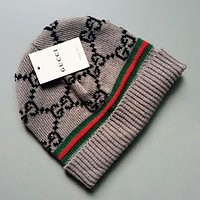 GUCCI Autumn Winter Popular Women Men Warm Knit Hat Cap Grey