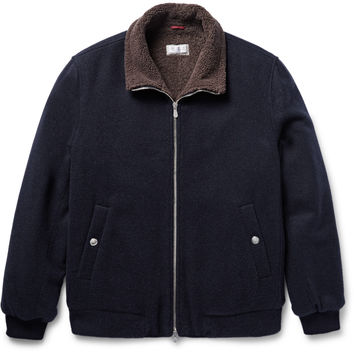 Brunello Cucinelli - Shearling-Lined Cashmere Bomber Jacket