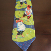 Pigs Golfing, Pig Golf Tie, Mens Cotton Colorful Novelty Necktie, Funny Gag Tie by Ralph Marlin