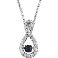 "14kt White Gold Blue Sapphire & 1/6 CTW Diamond 18"" Mystara™ Necklace"
