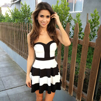 Stripe Me Skater Dress - Black & Ivory