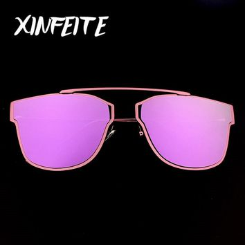 XINFEITE Brand 2017 Cat Eye Sunglasses Women Sun Glasses Vintage Female Coating Casual Metal Shadow Glasses UV400 Sun Oculos