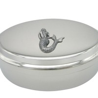 Silver Toned Large Mermaid Pendant Oval Trinket Jewelry Box