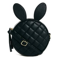 Round Bunny Rabbit Ears Shaped Quilted Cross Body Shoulder Bag in Black