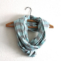 Striped Scarf - Gray stripe scarf - Loop Scarf Infinity - Mothers Day gift