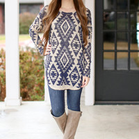 Only You Tunic  - Navy