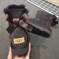 UGG hot selling fashion single bow and velvet men's and women's casual snow boots