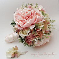 Bridal Bouquet Lily of the Valley Peonies Roses Hydrangea Pink and White- Customize for Your Colors