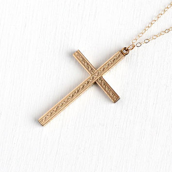Vintage Cross Necklace - 1940s Mid Century 12k Rosy Yellow Gold Filled Statement Pendant - Retro Era Crucifix Religious Faith Floral Jewelry
