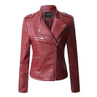 Quilted Moto Biker Faux Leather Jacket with Zipper Pockets