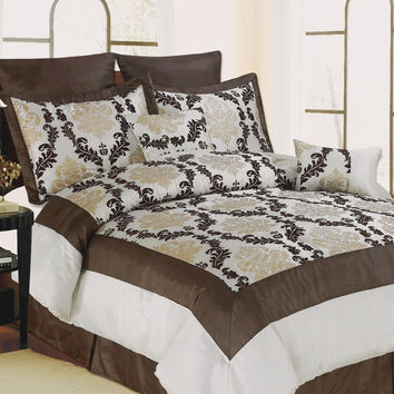 12pc Ivory/Chocolate STT Luxury Size: Cal King Sheet Set Color: Navy