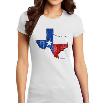 State of Texas Flag Design - Distressed Juniors T-Shirt