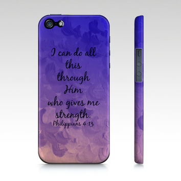 I Can Do All This Through Him Christian iPhone 4 4s 5 5c 6 Case Samsung Galaxy Case Purple Lavender Cloud Bible Verse Philippians Scripture