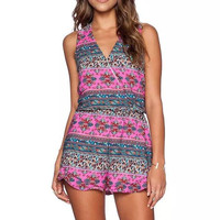 Pink Floral Print V-Neck Sleeveless A-Line Lace Romper