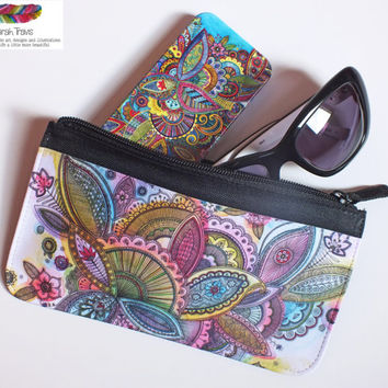 Zipped Pouch printed with 'Fairground Paisley'