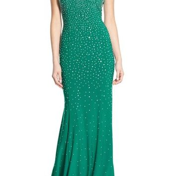 Xscape Beaded Open Back Gown | Nordstrom