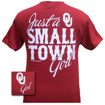 New Oklahoma Boomer Sooners OU Small Town Girl Girlie Bright T Shirt