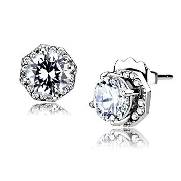 Angelina Earrings - 6mm Round Clear CZ Stainless Steel Earrings